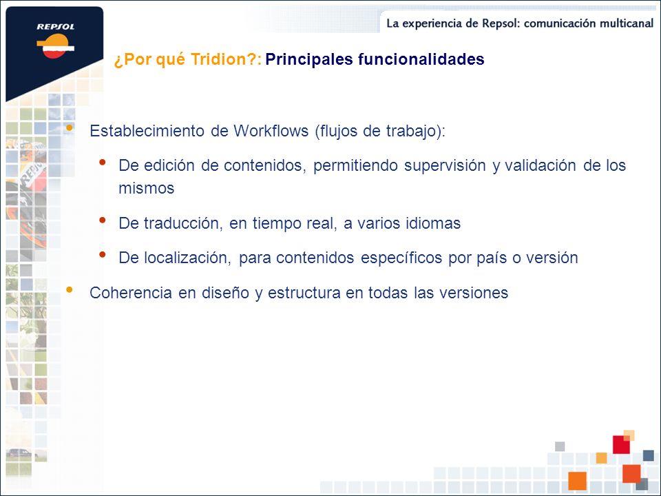 Establecimiento de Workflows (flujos de trabajo): De edición de contenidos, permitiendo supervisión y validación de los mismos De traducción, en tiempo real, a varios idiomas De localización, para contenidos específicos por país o versión Coherencia en diseño y estructura en todas las versiones ¿Por qué Tridion?: Principales funcionalidades