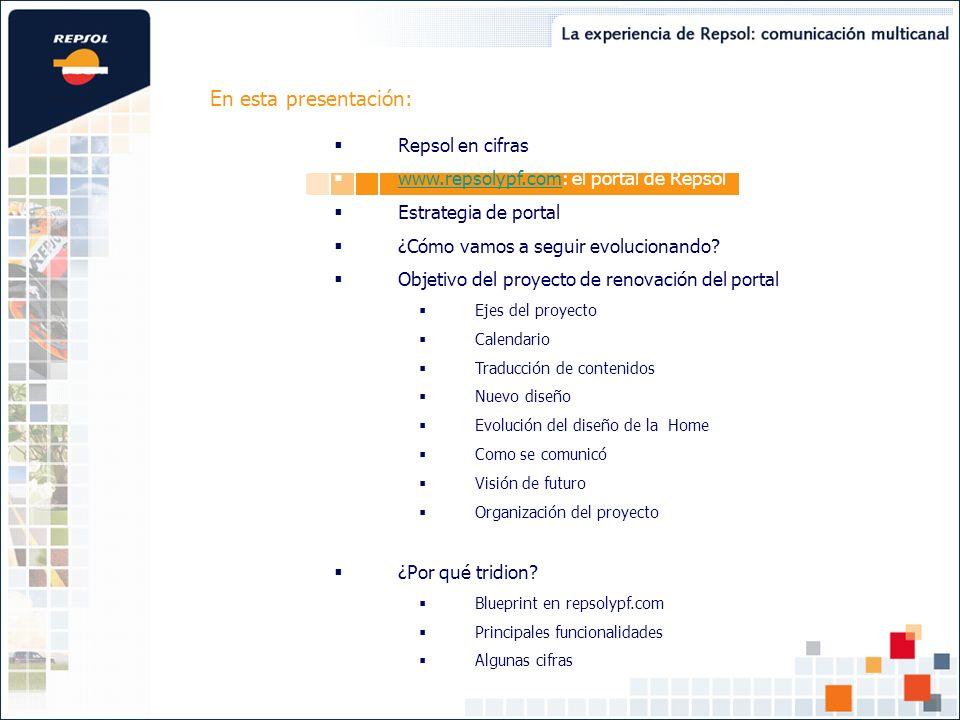La presencia de Repsol YPF en Internet se ha canalizado a través de una estrategia de portal único, aglutinador de todos los contenidos y servicios dirigidos a los diferentes públicos de interés de la compañía.