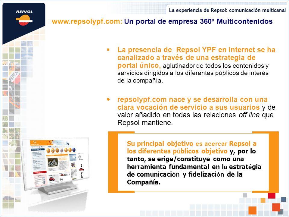 La presencia de Repsol YPF en Internet se ha canalizado a través de una estrategia de portal único, aglutinador de todos los contenidos y servicios di