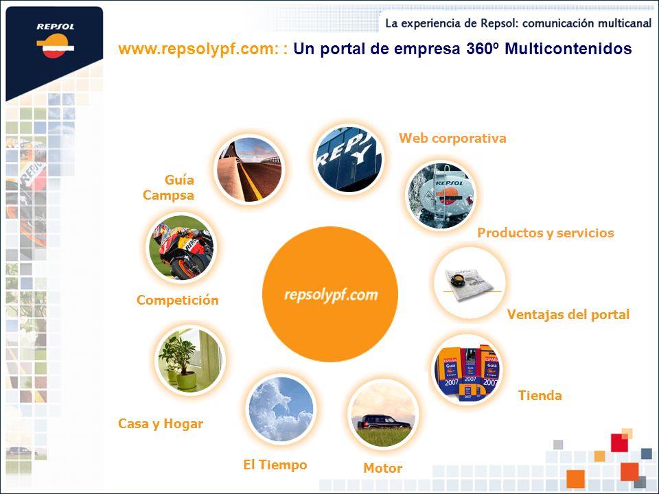 Competición El Tiempo Casa y Hogar Productos y servicios Web corporativa Guía Campsa Tienda Ventajas del portal Motor www.repsolypf.com: : Un portal de empresa 360º Multicontenidos