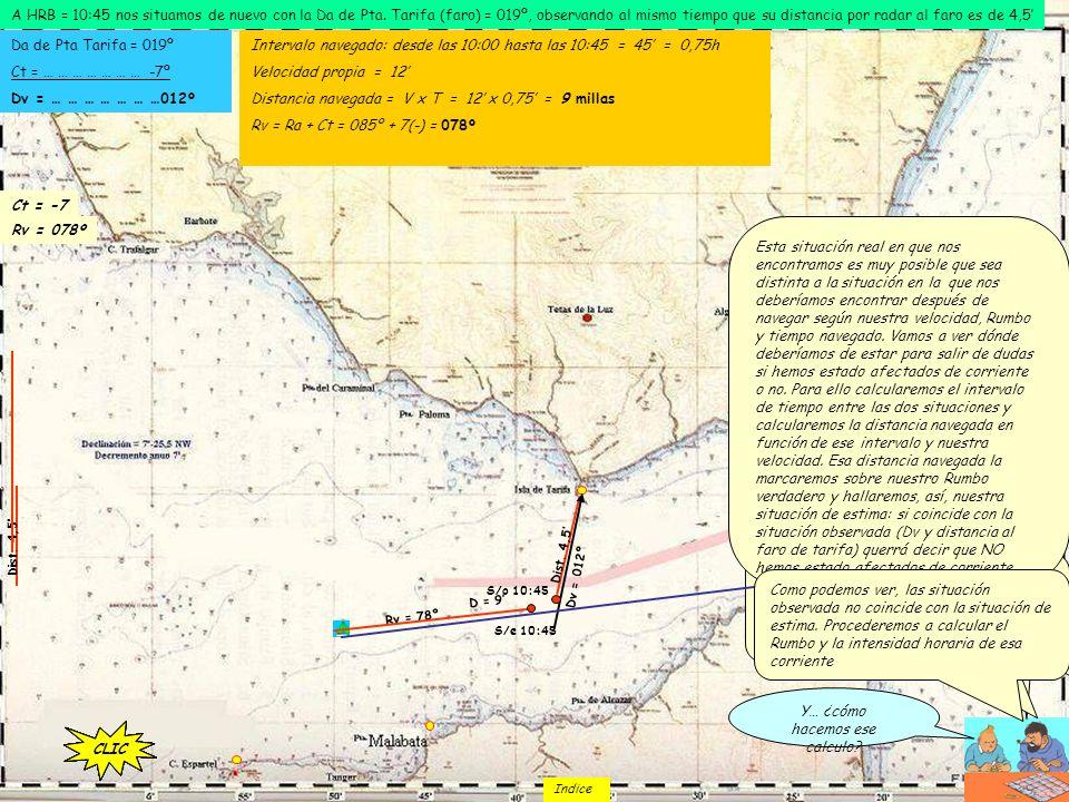 A HRB = 10:45 nos situamos de nuevo con la Da de Pta. Tarifa (faro) = 019º, observando al mismo tiempo que su distancia por radar al faro es de 4,5 Tr