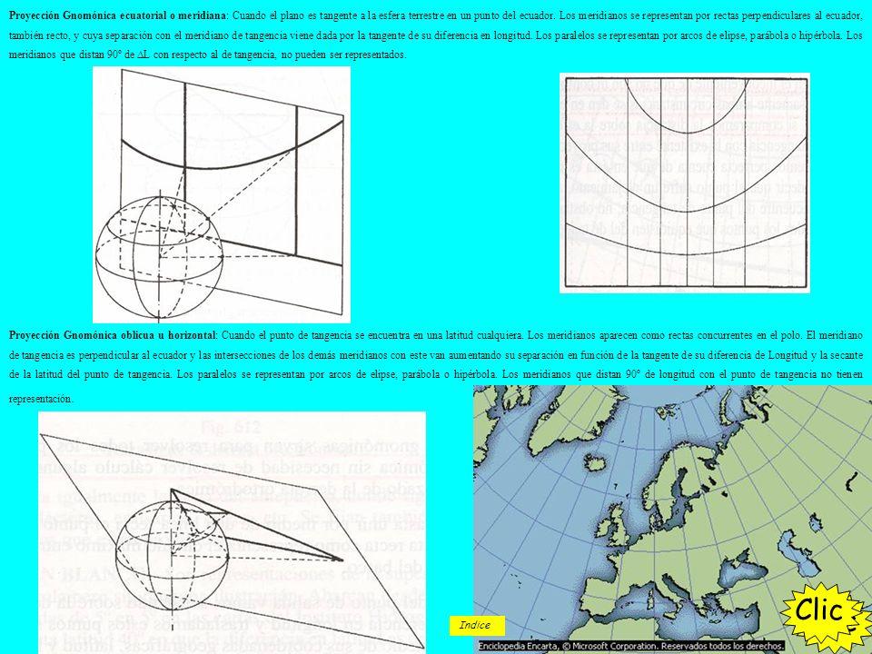 Proyección Gnomónica ecuatorial o meridiana: Cuando el plano es tangente a la esfera terrestre en un punto del ecuador. Los meridianos se representan