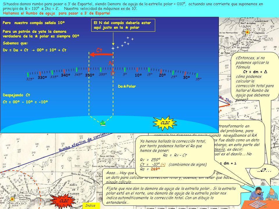 Rumbo efectivo de corriente = 251º Rc Ihc 10 millas Arco con el compás que corta al R efectivo Velocidad efectiva = 8,3 Situados damos rumbo para pasa