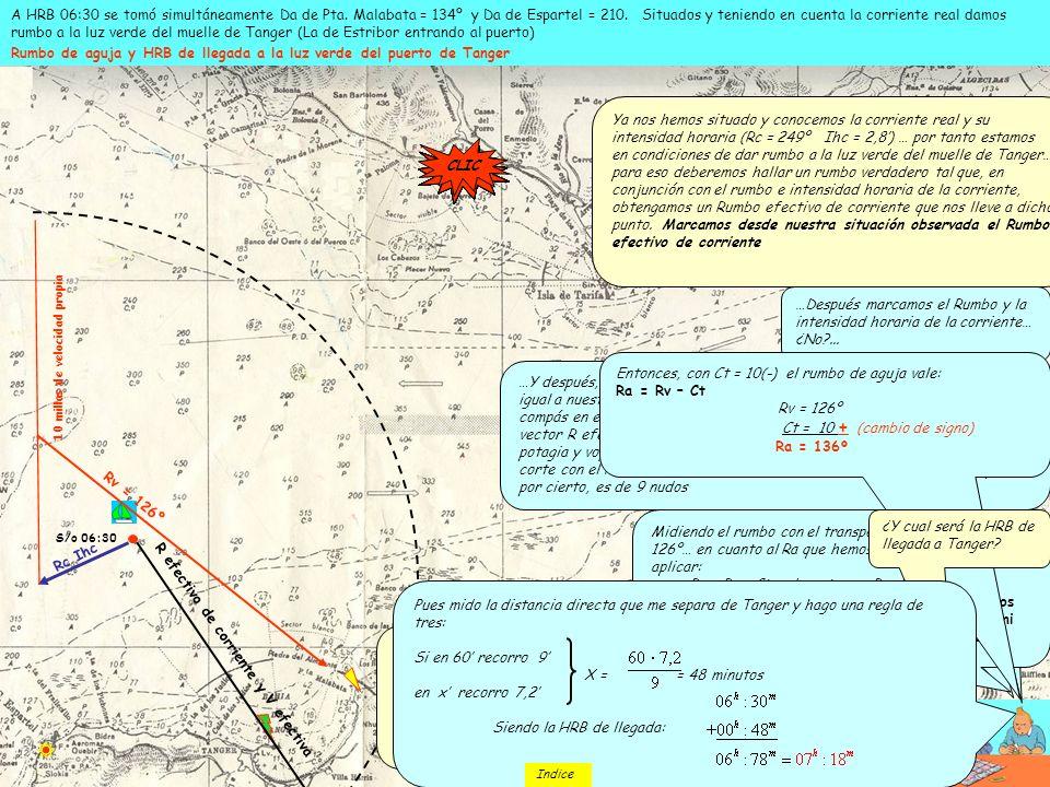 S/o 06:30 A HRB 06:30 se tomó simultáneamente Da de Pta. Malabata = 134º y Da de Espartel = 210. Situados y teniendo en cuenta la corriente real damos