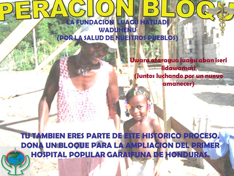 M LA FUNDACION LUAGU HATUADI WADUHEÑU (POR LA SALUD DE NUESTROS PUEBLOS) TU TAMBIEN ERES PARTE DE ESTE HISTORICO PROCESO. DONA UN BLOQUE PARA LA AMPLI