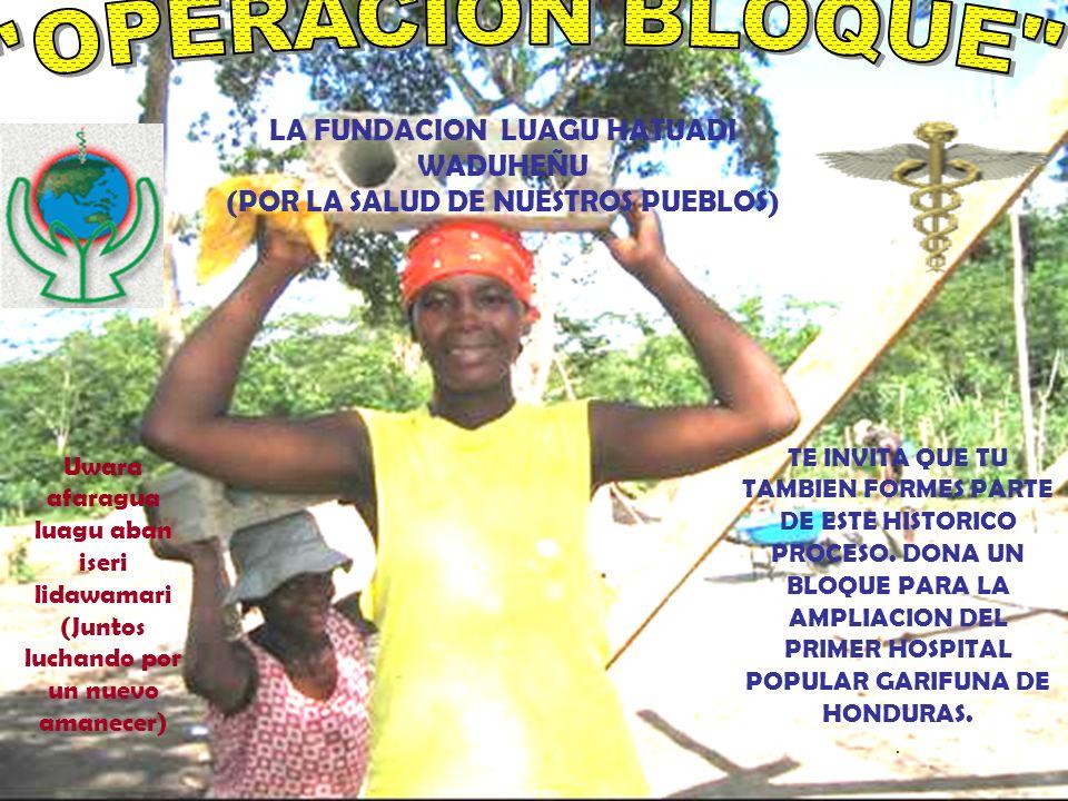 TE INVITA QUE TU TAMBIEN FORMES PARTE DE ESTE HISTORICO PROCESO. DONA UN BLOQUE PARA LA AMPLIACION DEL PRIMER HOSPITAL POPULAR GARIFUNA DE HONDURAS..