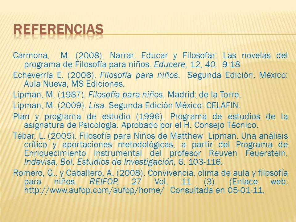 Carmona, M. (2008). Narrar, Educar y Filosofar: Las novelas del programa de Filosofía para niños. Educere, 12, 40. 9-18 Echeverría E. (2006). Filosofí