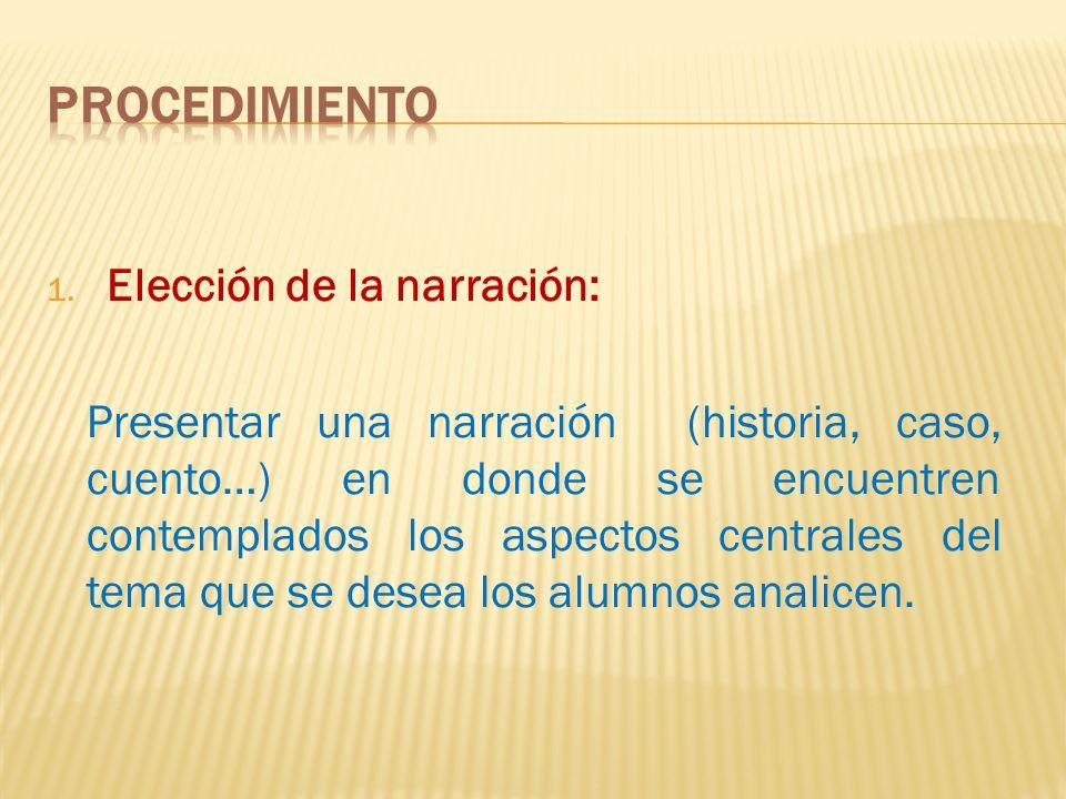 1. Elección de la narración: Presentar una narración (historia, caso, cuento…) en donde se encuentren contemplados los aspectos centrales del tema que