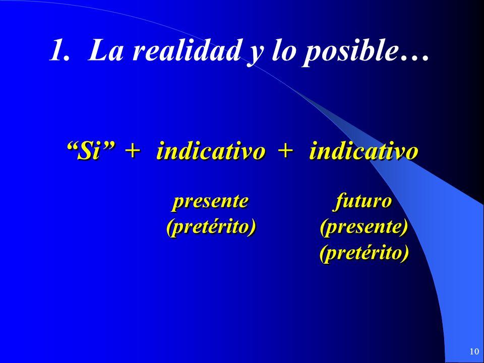 9 Hay dos tipos de cláusulas condicionales que usamos en español: (If…then…)(If…then…) 1. Cláusulas que hablan de la realidad y lo posible… 2. Cláusul