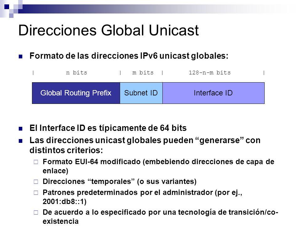 Direcciones Global Unicast Formato de las direcciones IPv6 unicast globales: El Interface ID es típicamente de 64 bits Las direcciones unicast globales pueden generarse con distintos criterios: Formato EUI-64 modificado (embebiendo direcciones de capa de enlace) Direcciones temporales (o sus variantes) Patrones predeterminados por el administrador (por ej., 2001:db8::1) De acuerdo a lo especificado por una tecnología de transición/co- existencia Global Routing PrefixSubnet IDInterface ID | n bits | m bits | 128-n-m bits |