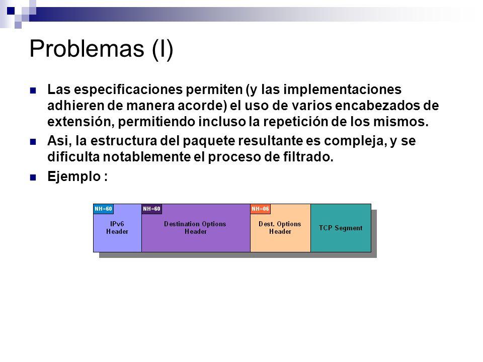 Problemas (I) Las especificaciones permiten (y las implementaciones adhieren de manera acorde) el uso de varios encabezados de extensión, permitiendo incluso la repetición de los mismos.