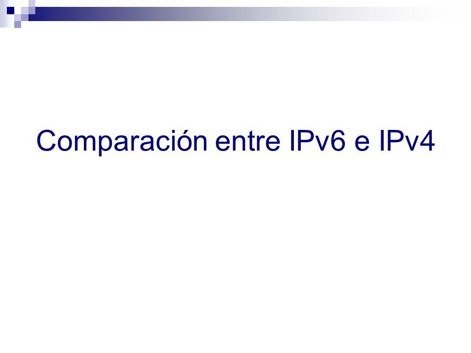 Breve comparación de IPv4 e IPv6 IPv4 e IPv6 son muy similares en términos de funcionalidad (no así de mecanismos) IPv4IPv6 Direccionamient o 32 bits128 bits Resolución de direcciones ARPICMPv6 NS/NA (+ MLD) Auto- configuración DHCP & ICMP RS/RAICMPv6 RS/RA & DHCPv6 ( recomendado ) (+ MLD) Aislamiento de fallas ICMPICMPv6 Soporte de IPsecOpcionalRecomendado (no mandatorio) FragmentaciónTanto en hosts como routers Sólo en hosts