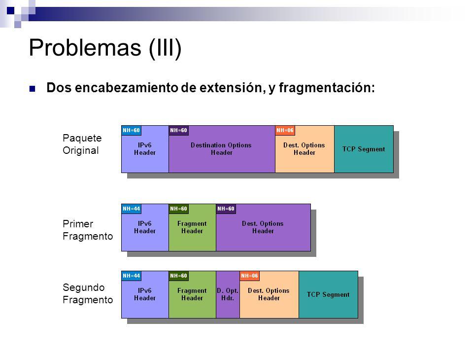 Problemas (III) Dos encabezamiento de extensión, y fragmentación: Paquete Original Primer Fragmento Segundo Fragmento