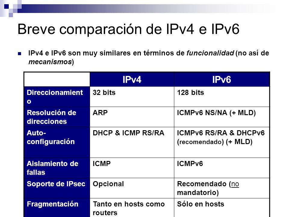 Implicancias de seguridad Como era de esperar, en IPv6 pueden realizarse ataques análogos a los de ARP spoofing de IPv4 Por ejemplo, el atacante falsifica mensajes Neighbor Advertisement cuando recibe un Neighbor Solicitation Este tipo de ataque puede ser utilizado con el el fin de: Man In The Middle (MITM) Denegación de Servicio (DoS) Desde hace bastante tiempo que existen herramientas para realizar este ataque (por ej., THCs IPv6 Attack Suite)
