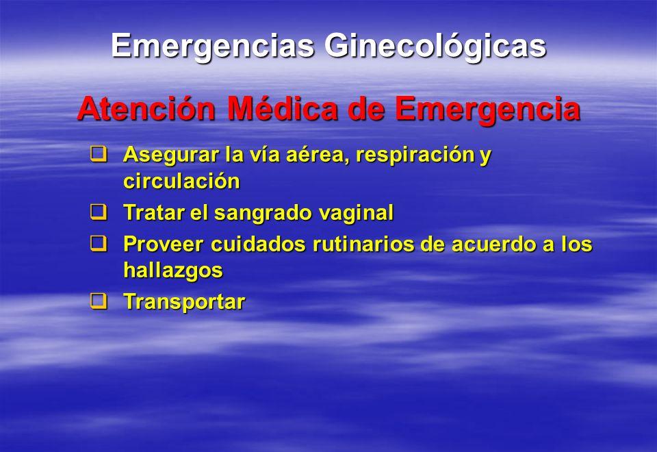 Emergencias Ginecológicas Atención Médica de Emergencia Asegurar la vía aérea, respiración y circulación Asegurar la vía aérea, respiración y circulac