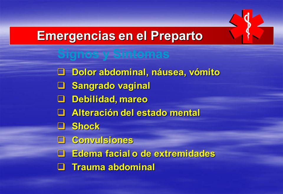 Emergencias en el Preparto Emergencias en el Preparto Dolor abdominal, náusea, vómito Dolor abdominal, náusea, vómito Sangrado vaginal Sangrado vagina