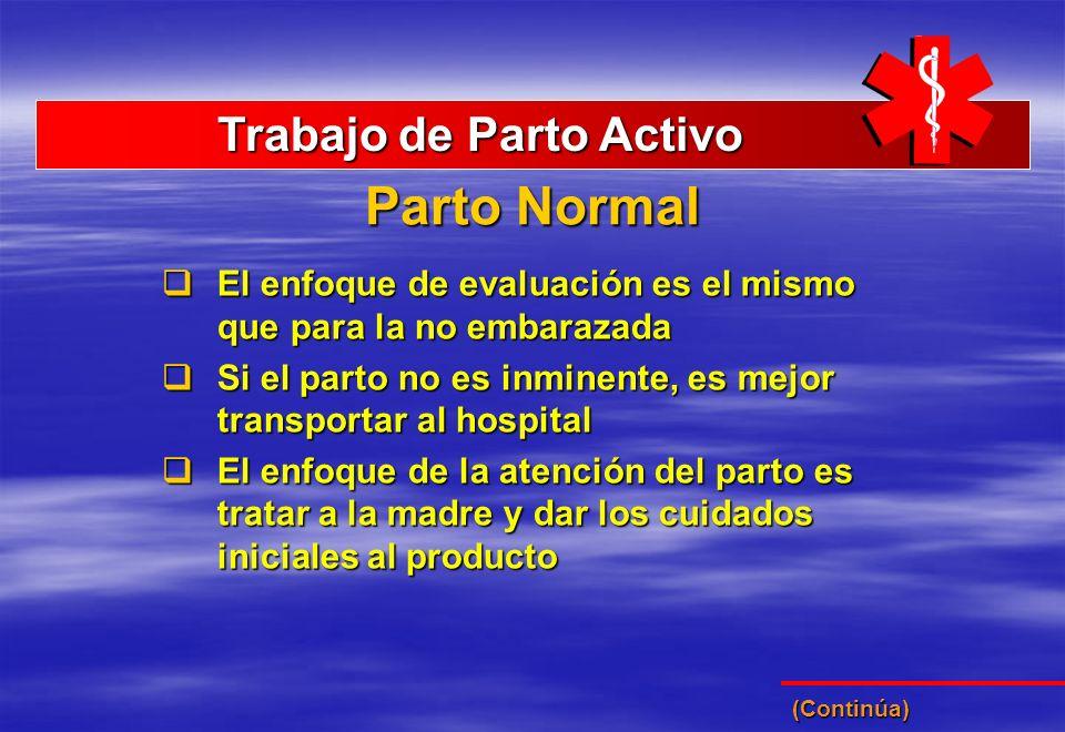 Parto Normal Trabajo de Parto Activo Trabajo de Parto Activo El enfoque de evaluación es el mismo que para la no embarazada El enfoque de evaluación e