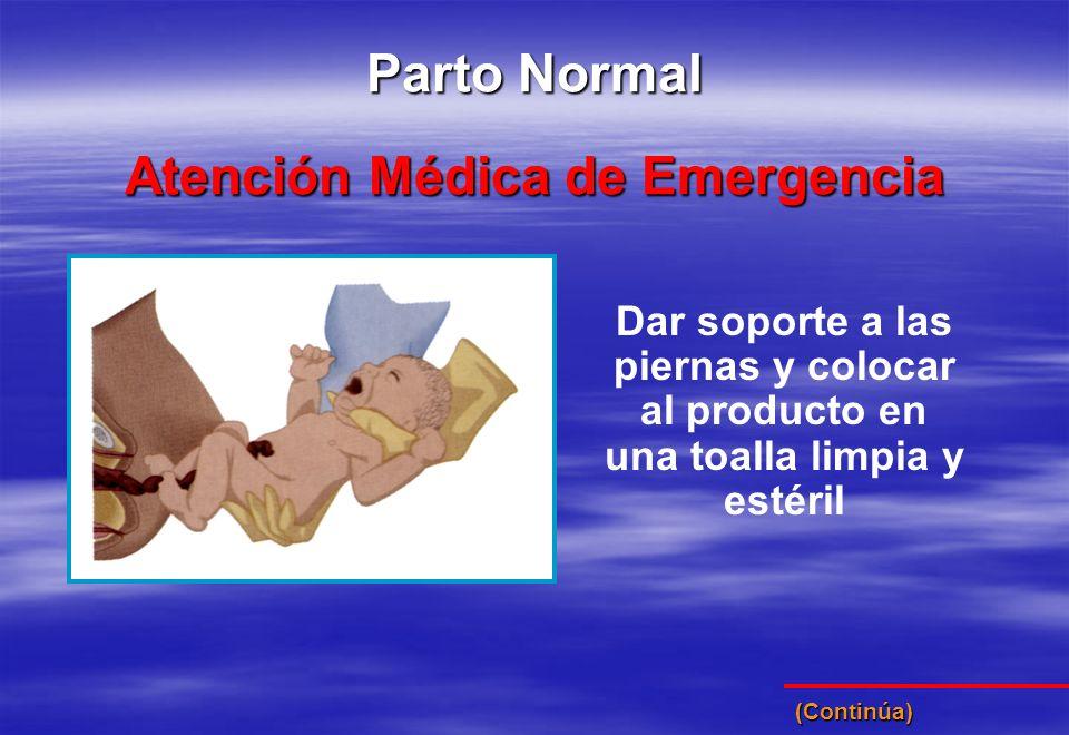 Dar soporte a las piernas y colocar al producto en una toalla limpia y estéril Atención Médica de Emergencia Parto Normal (Continúa)
