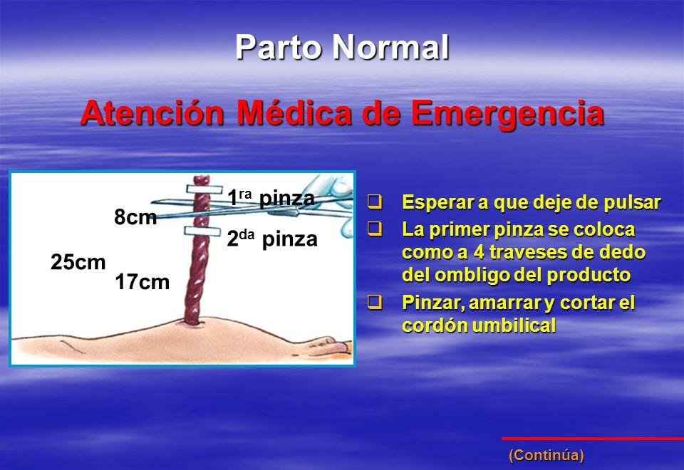 Atención Médica de Emergencia Parto Normal 25cm 17cm 8cm 1 ra pinza 2 da pinza Esperar a que deje de pulsar Esperar a que deje de pulsar La primer pin