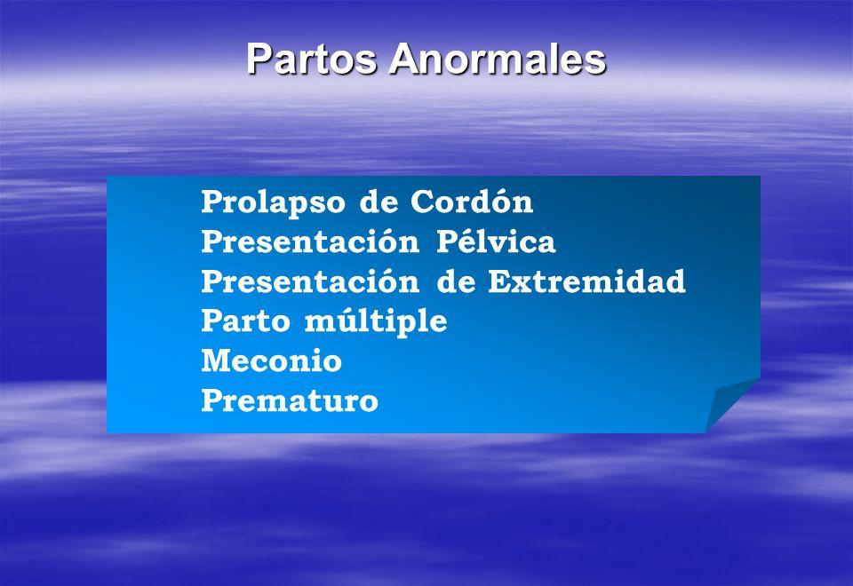 Prolapso de Cordón Presentación Pélvica Presentación de Extremidad Parto múltiple Meconio Prematuro Partos Anormales
