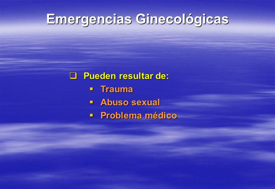 Pueden resultar de: Pueden resultar de: Trauma Trauma Abuso sexual Abuso sexual Problema médico Problema médico
