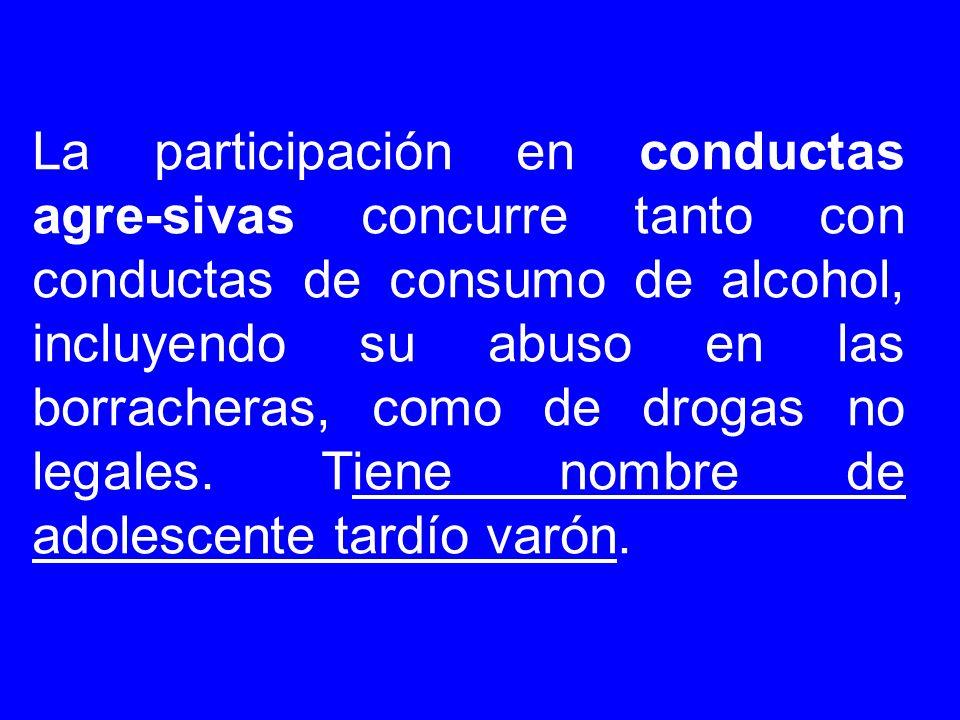 La participación en conductas agre-sivas concurre tanto con conductas de consumo de alcohol, incluyendo su abuso en las borracheras, como de drogas no legales.