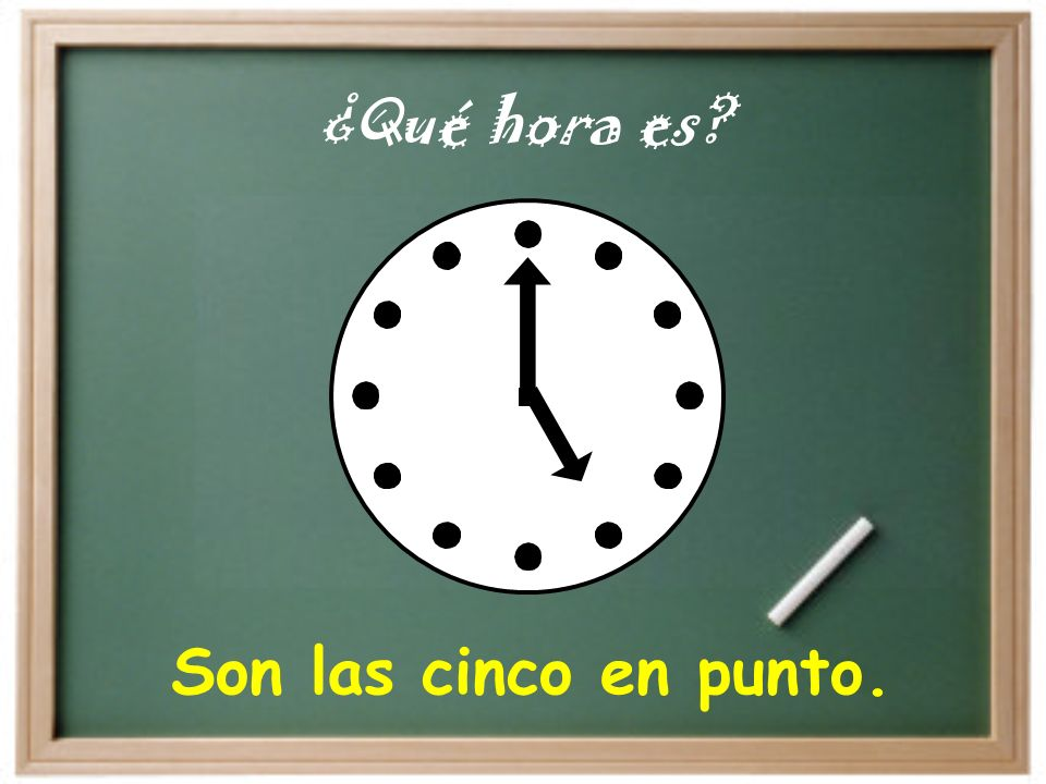 Son las diez en punto. ¿Qué hora es?