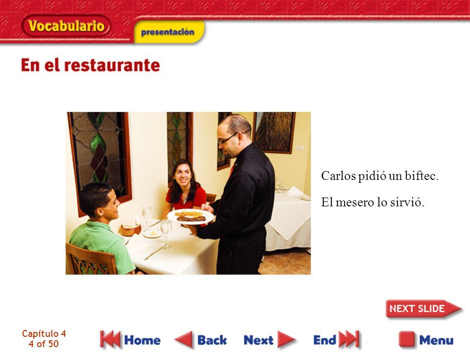 Capítulo 4 45 of 50 el restaurante la mesa el/la mesero(a), el/la camarero(a) el menú la cuenta la propina restaurant table waiter (waitress), server menu check (restaurant) tip (restaurant)