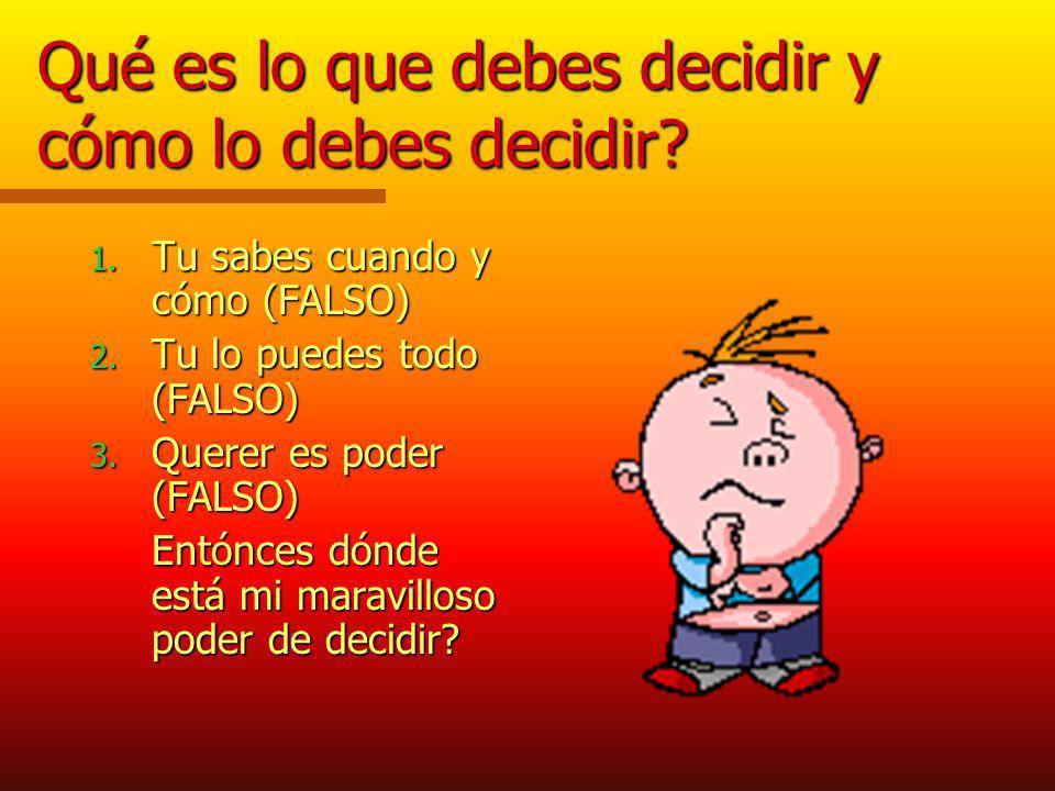 Qué es lo que debes decidir y cómo lo debes decidir.