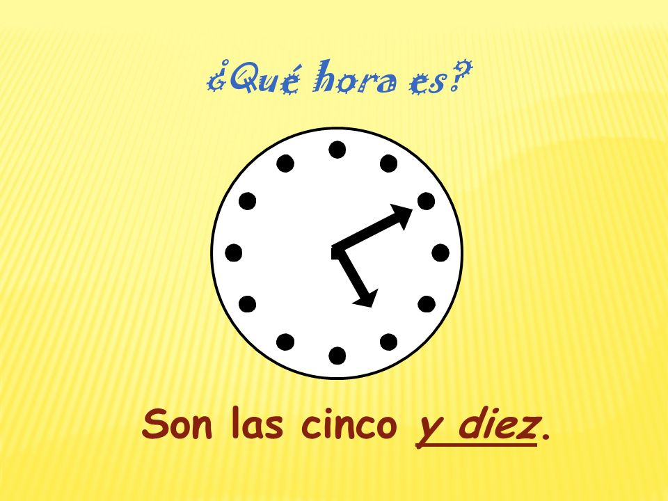 Son las cinco. ¿Qué hora es?