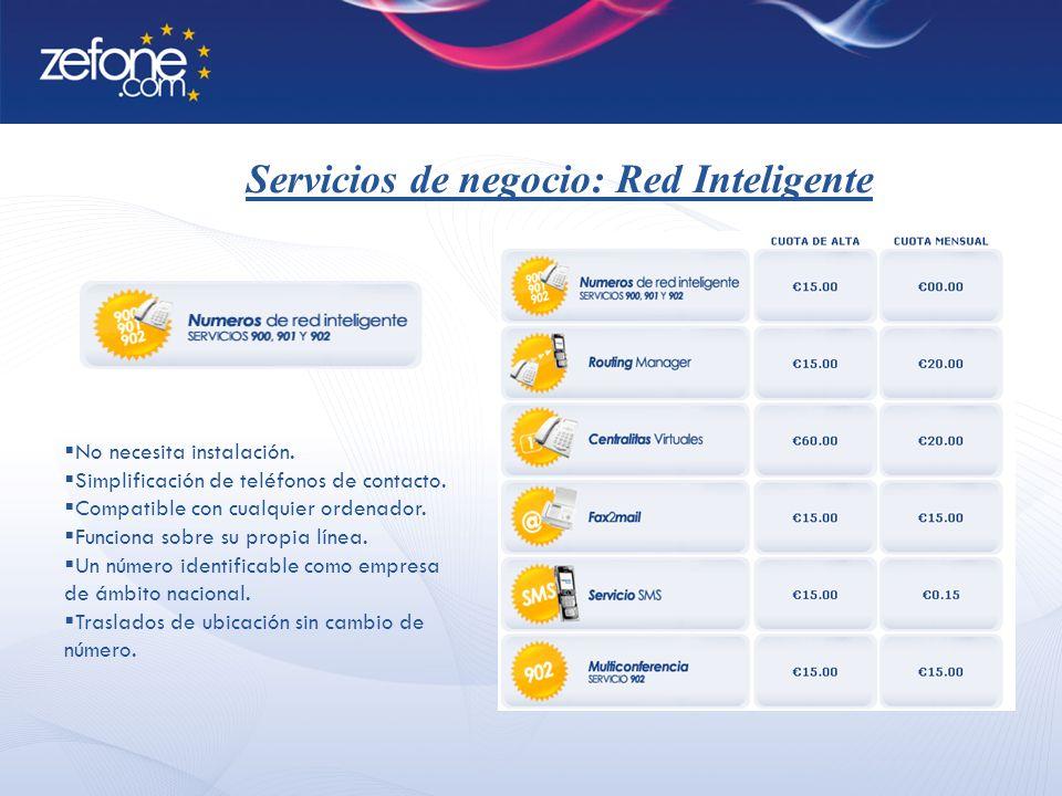 Servicios de negocio: Red Inteligente No necesita instalación.