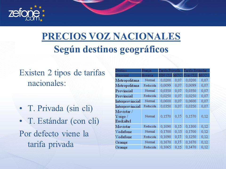 PRECIOS VOZ NACIONALES Según destinos geográficos Existen 2 tipos de tarifas nacionales: T.