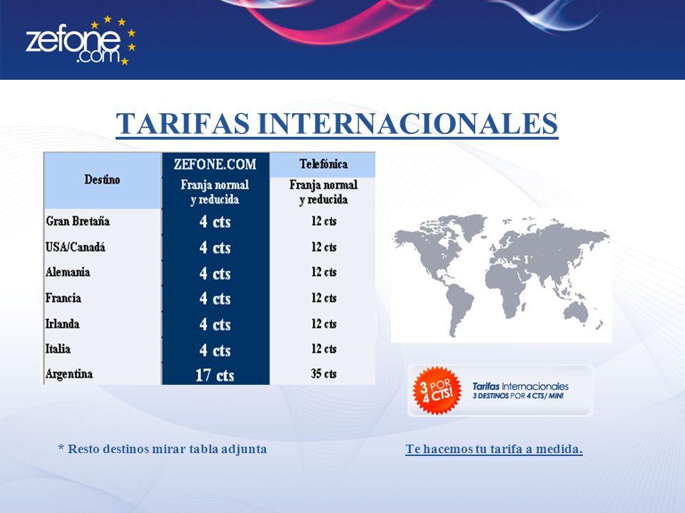 TARIFAS INTERNACIONALES * Resto destinos mirar tabla adjunta Te hacemos tu tarifa a medida.