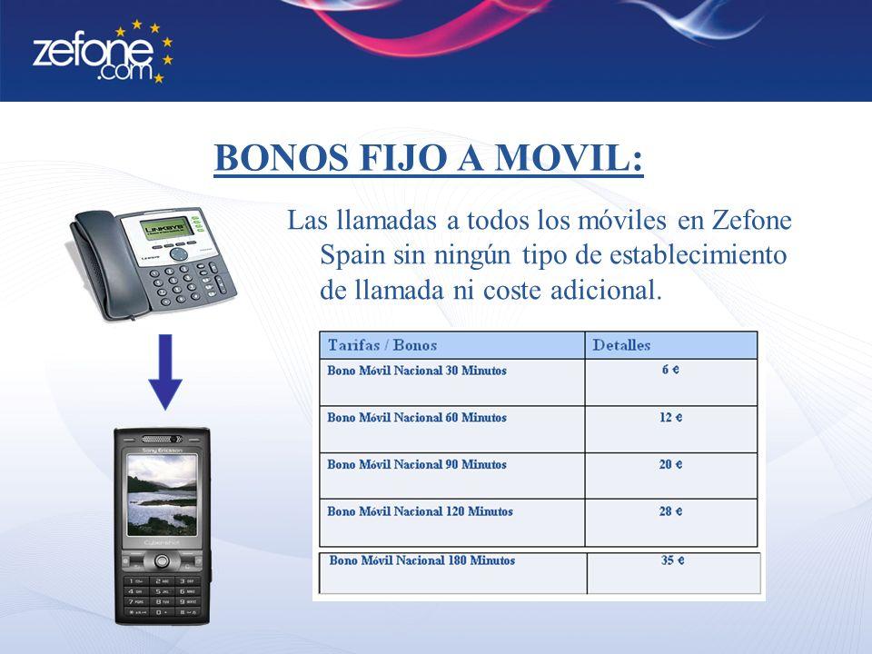 BONOS FIJO A MOVIL: Las llamadas a todos los móviles en Zefone Spain sin ningún tipo de establecimiento de llamada ni coste adicional.