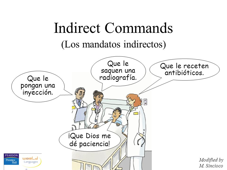 Indirect Commands Commands may be expressed indirectly, either to the person with whom you are speaking or to express what a third party should do.