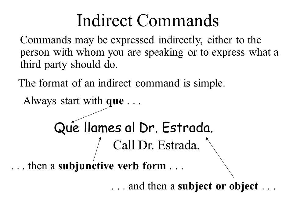 Indirect Commands Que + subjunctive verb (+ subject or object) Que lo haga ella.