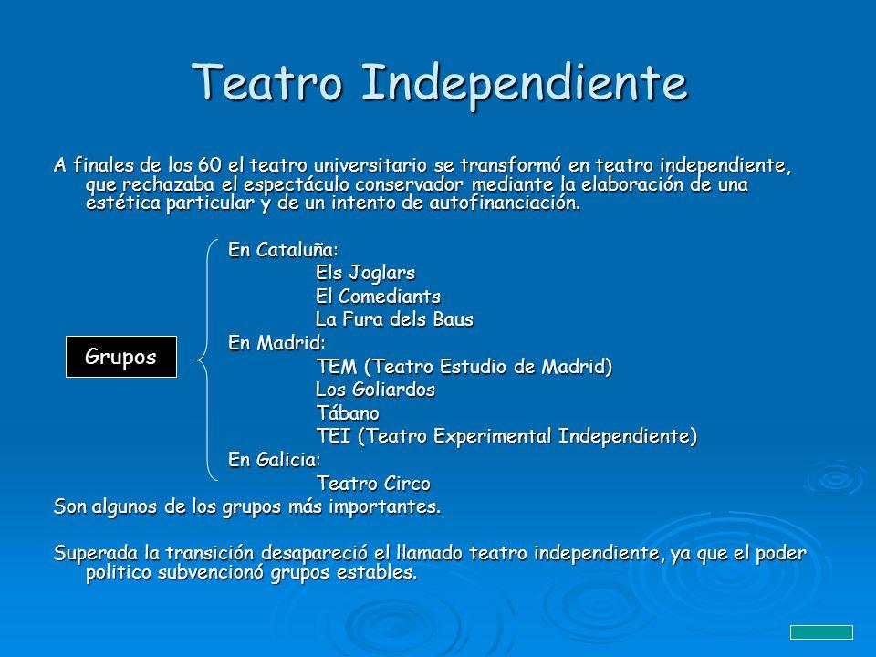 Teatro Independiente A finales de los 60 el teatro universitario se transformó en teatro independiente, que rechazaba el espectáculo conservador media