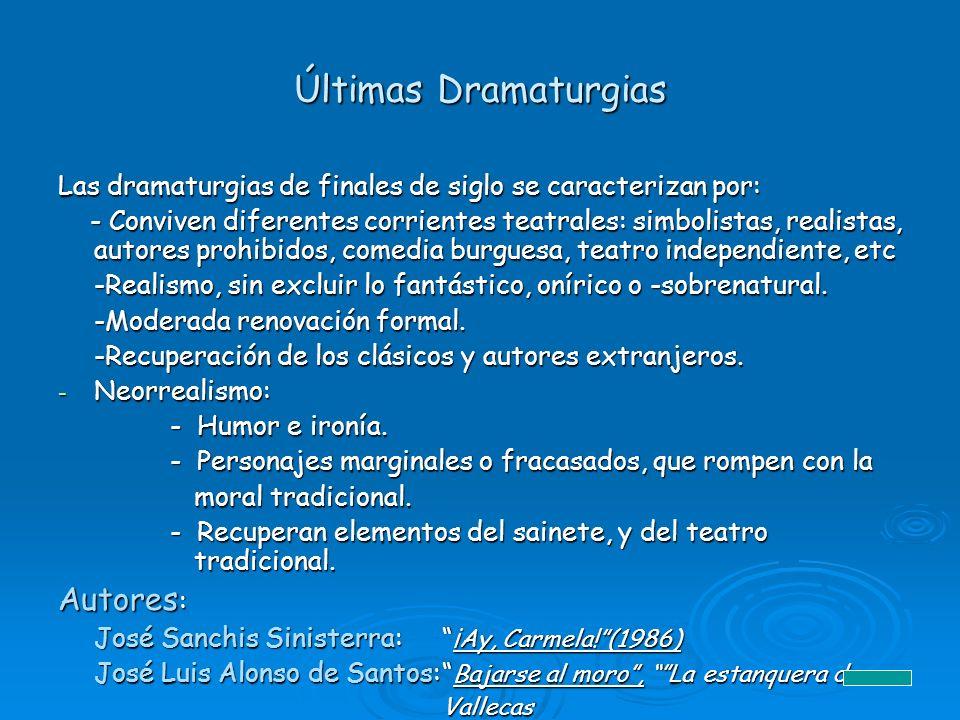 Últimas Dramaturgias Las dramaturgias de finales de siglo se caracterizan por: - Conviven diferentes corrientes teatrales: simbolistas, realistas, aut