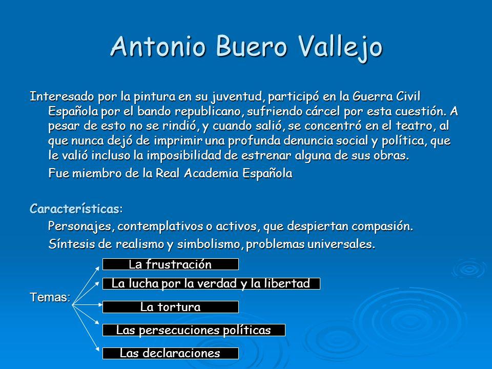 Antonio Buero Vallejo Interesado por la pintura en su juventud, participó en la Guerra Civil Española por el bando republicano, sufriendo cárcel por e
