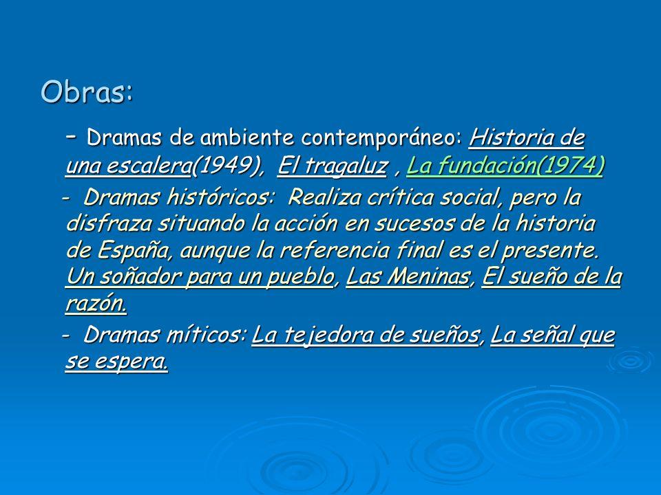 Obras: - Dramas de ambiente contemporáneo: Historia de una escalera(1949), El tragaluz, La fundación(1974) La fundación(1974)La fundación(1974) - Dram
