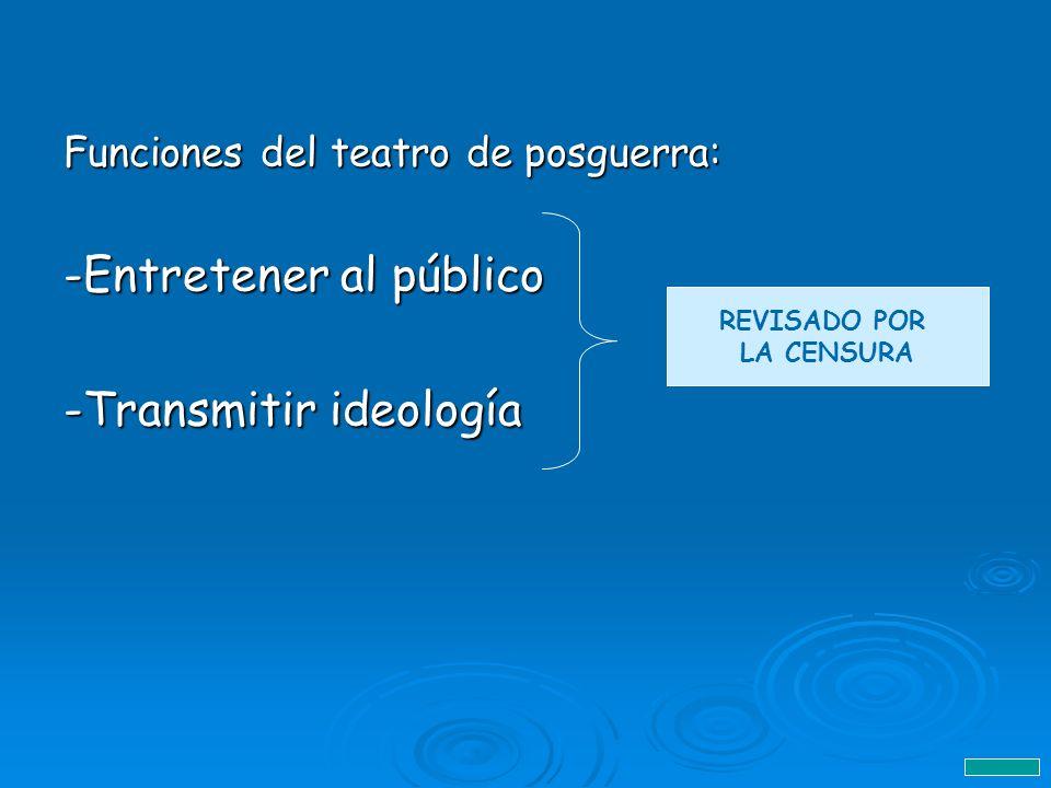 Funciones del teatro de posguerra: -Entretener al público -Transmitir ideología REVISADO POR LA CENSURA