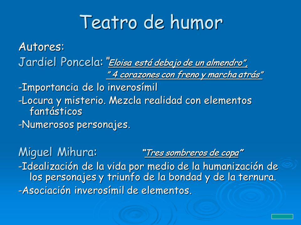 Teatro de humor Autores: Jardiel Poncela: Eloisa está debajo de un almendro, 4 corazones con freno y marcha atrás 4 corazones con freno y marcha atrás