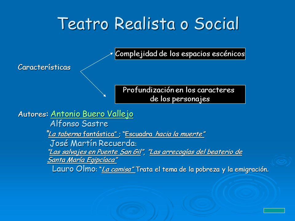 Teatro Realista o Social Características Autores : Antonio Buero Vallejo Antonio Buero VallejoAntonio Buero Vallejo Alfonso Sastre Alfonso Sastre La t