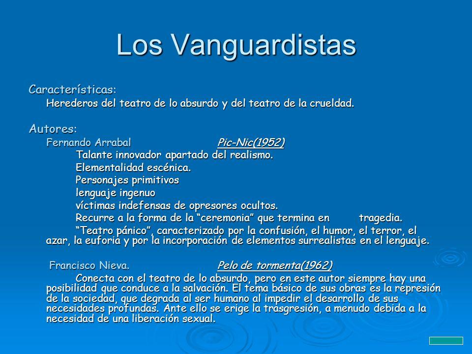 Los Vanguardistas Características: Herederos del teatro de lo absurdo y del teatro de la crueldad. Autores: Fernando ArrabalPic-Nic(1952) Talante inno