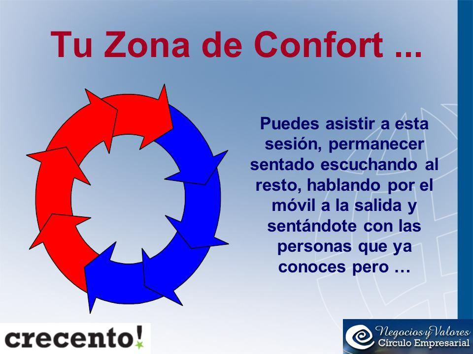 Tu Zona de Confort... Puedes asistir a esta sesión, permanecer sentado escuchando al resto, hablando por el móvil a la salida y sentándote con las per
