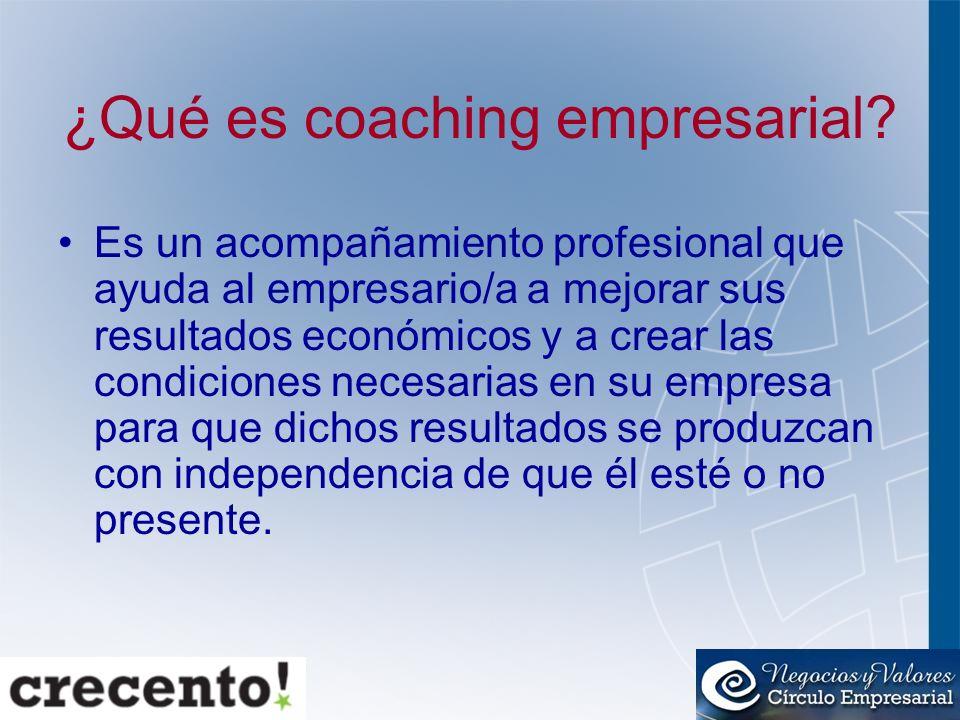 ¿Qué es coaching empresarial? Es un acompañamiento profesional que ayuda al empresario/a a mejorar sus resultados económicos y a crear las condiciones