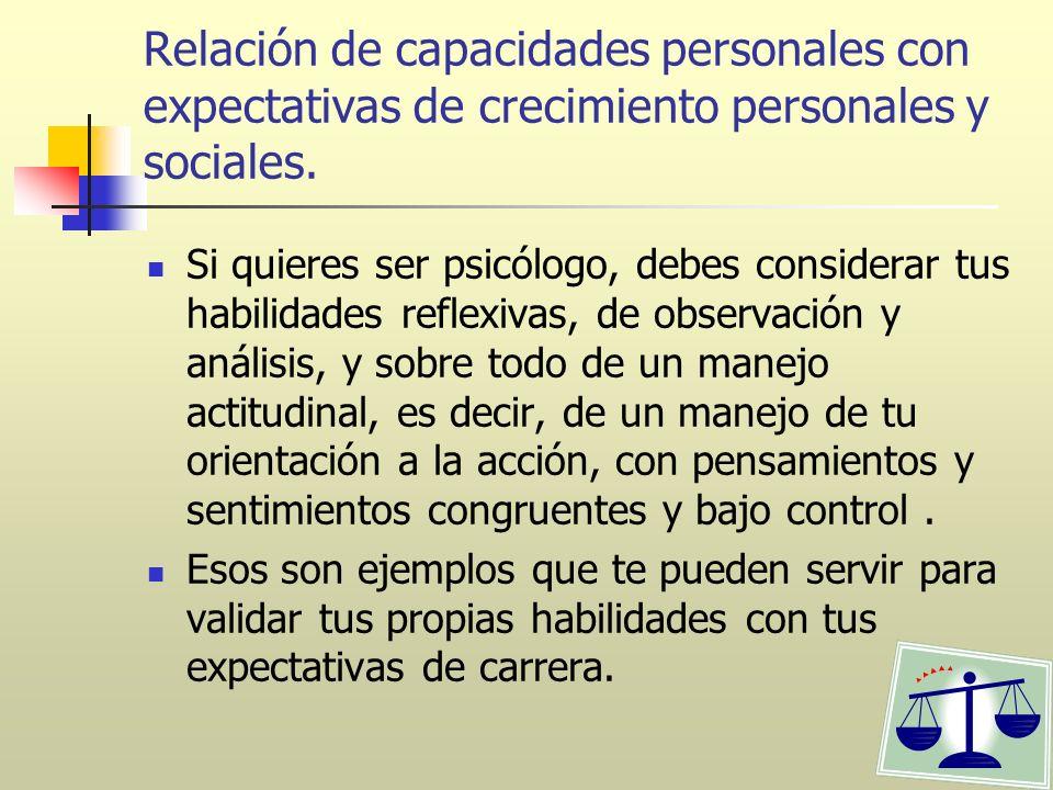 Relación de capacidades personales con expectativas de crecimiento personales y sociales. Si quieres ser psicólogo, debes considerar tus habilidades r