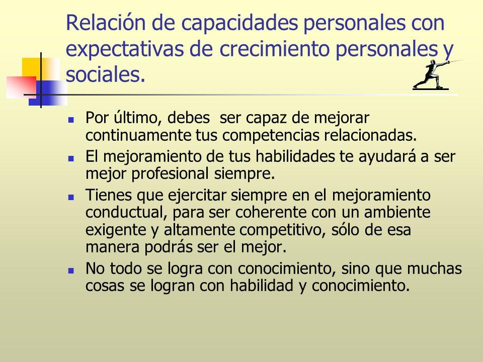 Relación de capacidades personales con expectativas de crecimiento personales y sociales. Por último, debes ser capaz de mejorar continuamente tus com