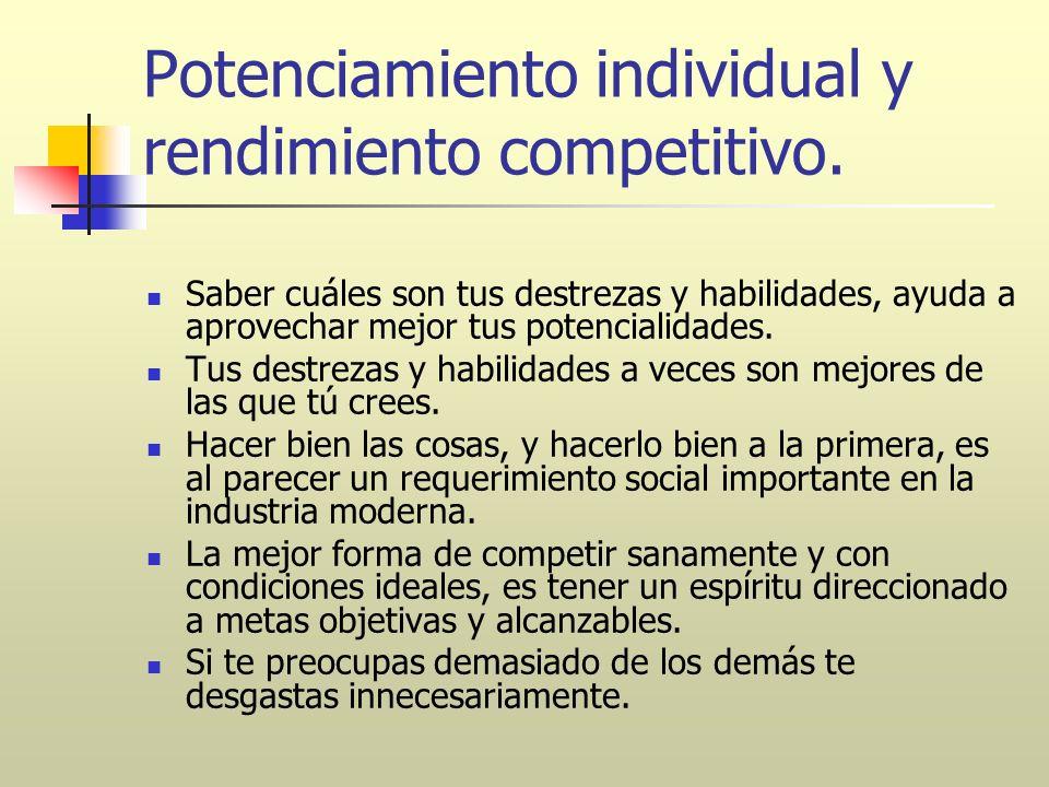 Potenciamiento individual y rendimiento competitivo. Saber cuáles son tus destrezas y habilidades, ayuda a aprovechar mejor tus potencialidades. Tus d