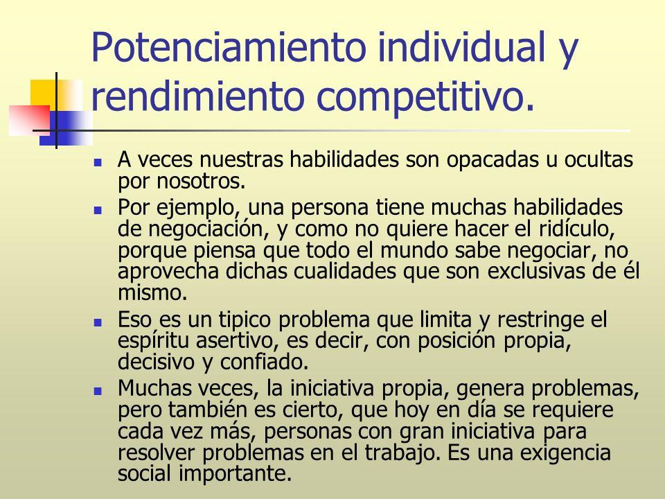 Potenciamiento individual y rendimiento competitivo. A veces nuestras habilidades son opacadas u ocultas por nosotros. Por ejemplo, una persona tiene
